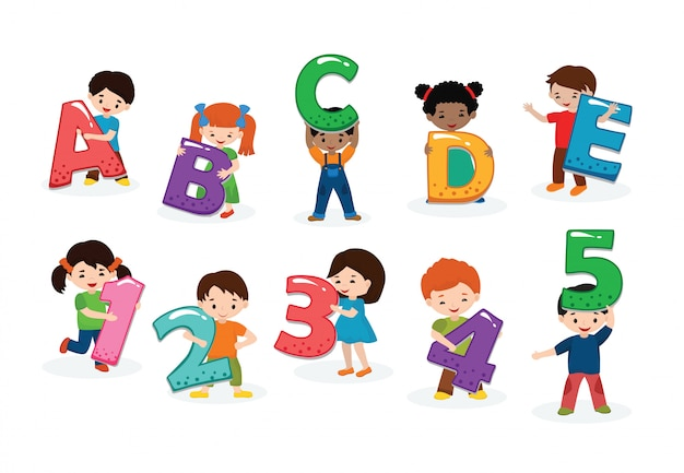 Kids alphabet vector children font and boy or girl character