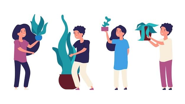 Дети и растения. дети сажают зелень в горшках. изолированные мультфильм мальчиков и девочек персонажей с набором векторных домашних растений.