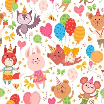 Kids animal party elements pattern