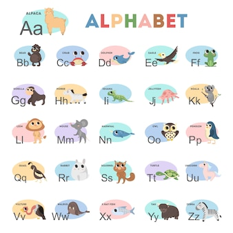 Kids animals alphabet with colorful illustrations. yak and vulture, bear and rabbit.