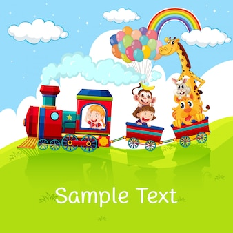 Kids and animals on train with sample text on grass