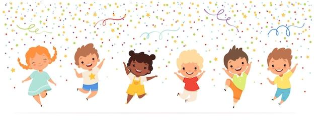 어린이 기념일. 색종이 별 축하 재미 파티 시간 청소년 문자에서 점프하는 행복 한 어린이.