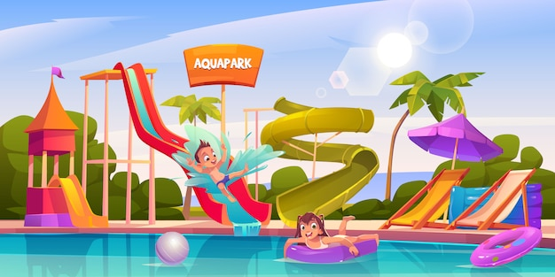 Kids in aquapark, amusement aqua park attractions