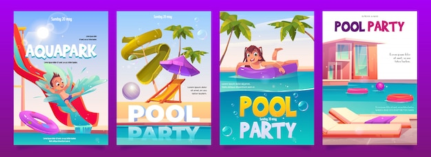Kids aquapark pool party poster set,