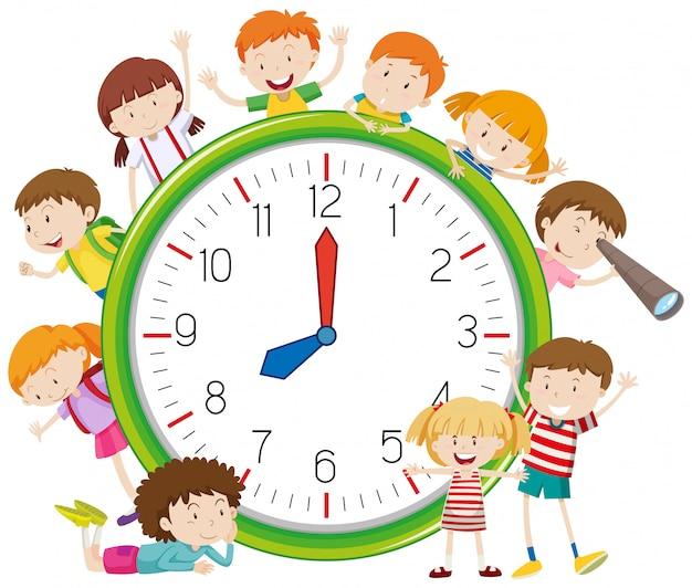 시계 주위에 아이들