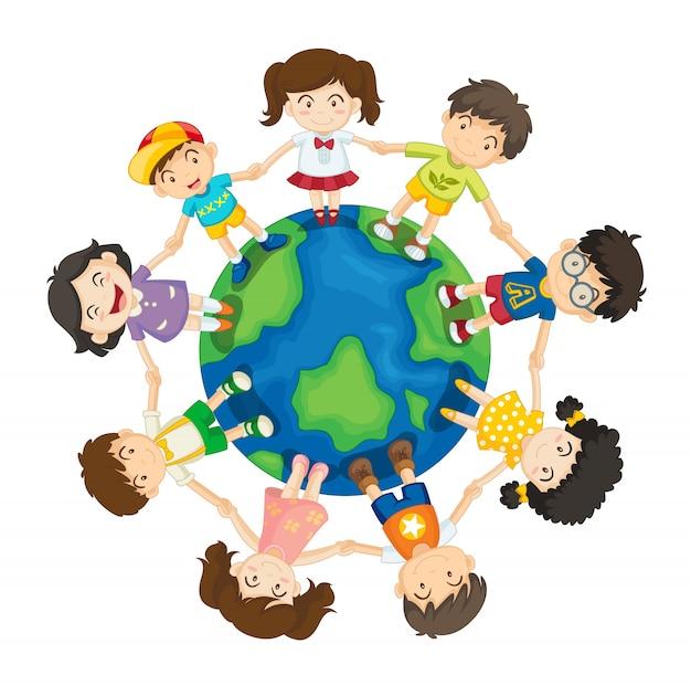 Kids around the world Premium Vector