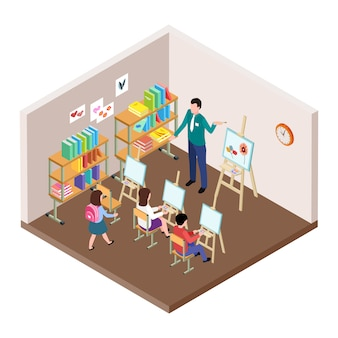 Kids art studio vector illustration.