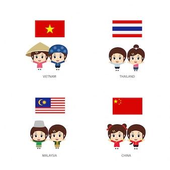 Дети азиатки в традиционных костюмах. таиланд, малайзия, вьетнам, китай