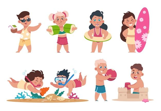 ビーチのイラストで子供たち
