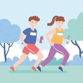 야외에서 어린이 운동 훈련