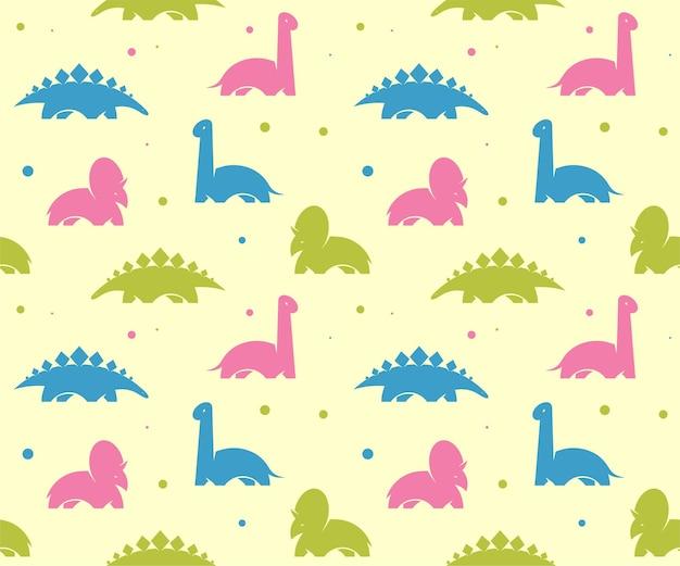 Детский детский фон с милыми динозаврами. бесшовный узор вектор.