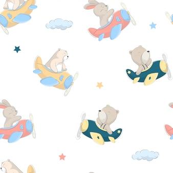 Kids baby pattern of cute bear, rabbit riding a plane