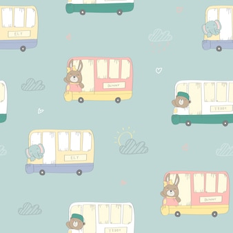 Kids baby pattern with cute animals on the bus in the pastel style