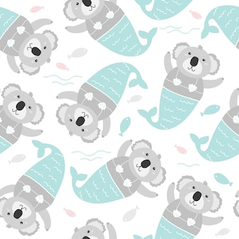 Kids background. coala mermaid seamless pattern.