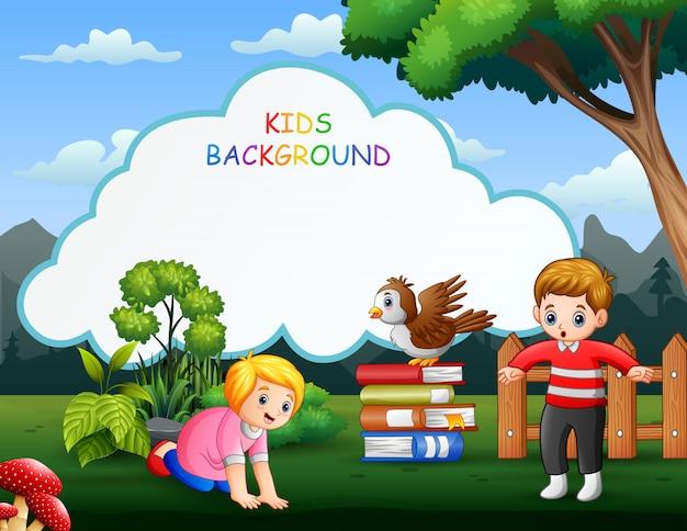 幸せな子供たちと子供たちの背景テンプレート