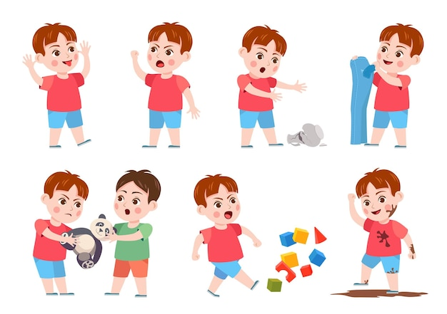 Kids bad behavior. bully making mess, scream, angry, rips clothes and break vase. naughty boy fighting over a toy. problem child vector set. child ruining cubes, jumping in mud and teasing