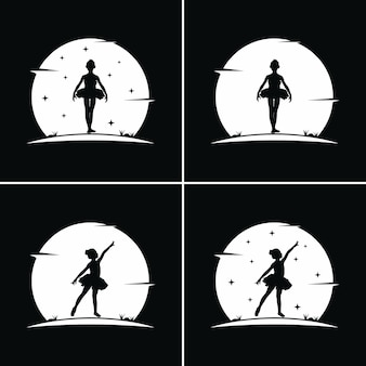 Kids ballet with moon background