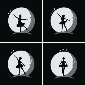 달 배경으로 어린이 발레