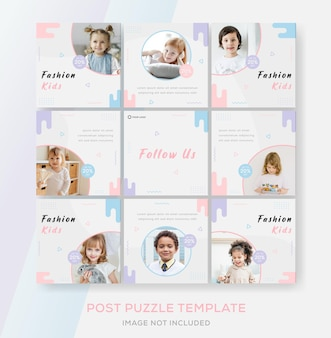 Kids banner puzzle template feed for fashion sale premium vector
