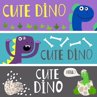 Kids banners template with cute cartoon dinos  set