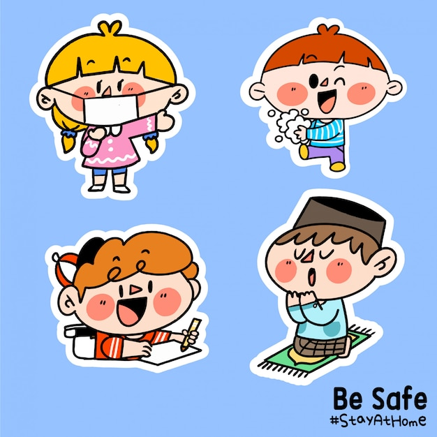 Kids be safe stay at home corona covid-19 campaign sticker illustration b