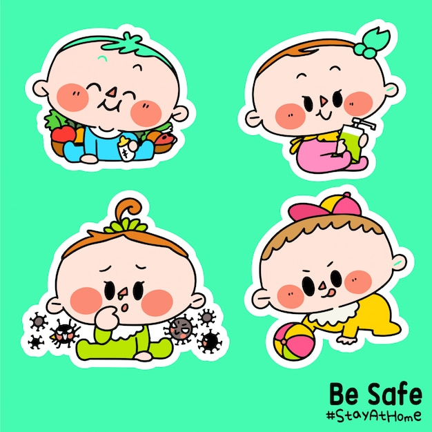 Kids be safe stay at home corona covid-19 campaign sticker illustration c