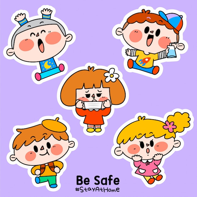 Kids be safe stay at home corona covid-19 campaign sticker illustration d