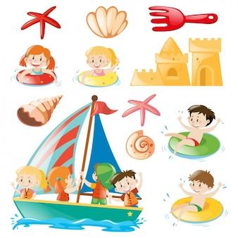 I bambini sulla raccolta disegni spiaggia