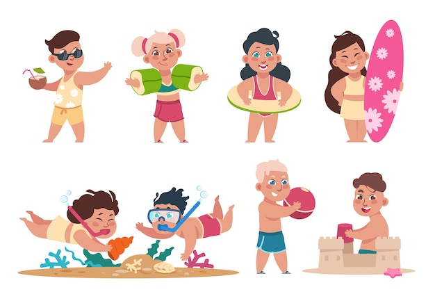 Kids at beach illustration