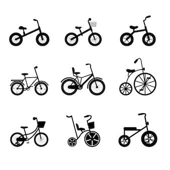 세발 자전거에서 십대까지 어린이 자전거 실루엣. 다양한 프레임 유형의 검은색 자전거.