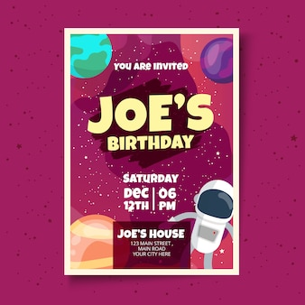 Kids birthday card invitation design template