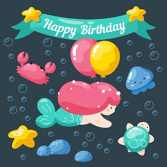 Kids birthday card with cute little mermaid and marine life.