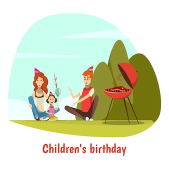 Kids birthday celebration composition