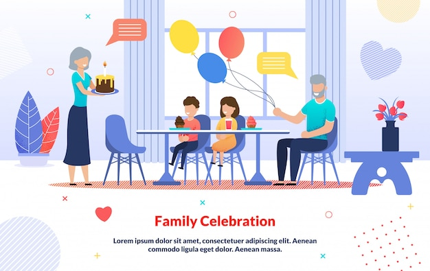 Kids birthday family celebration cartoon infographic