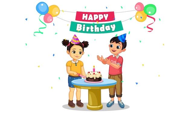 パーティーで子供の誕生日ケーキを切るパーティー