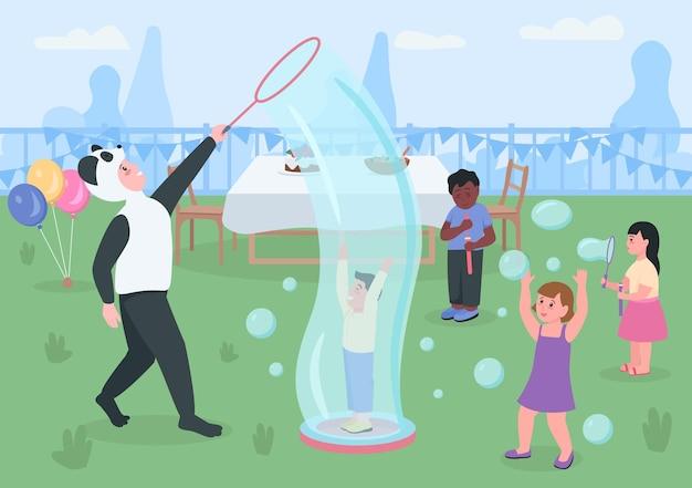 Детский день рождения на заднем дворе плоский цвет. дети играют и пускают мыльные пузыри. детский сад развлекательные 2d герои мультфильмов со столом с закусками