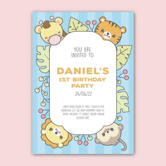 Kids birthday invitation template. premium