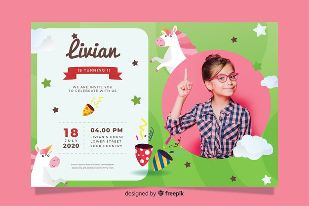 Kids birthday invitation template with image