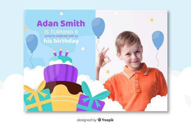 Kids birthday invitation template with image