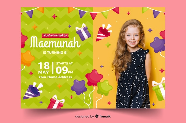 Kids birthday invitation template with photo