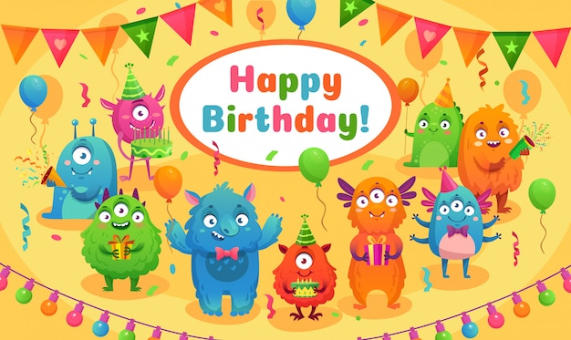 Kids birthday party cute monster mascot, monsters anniversary greeting card cartoon vector illustration
