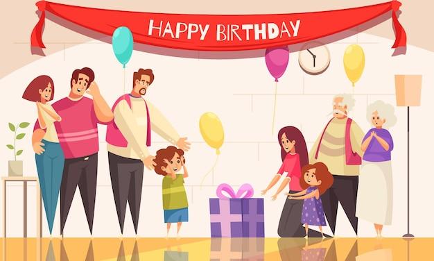 子供の誕生日パーティーのギフトは、お祝いの風船のテキストと家族のイラストのキャラクターと屋内構成を提示します