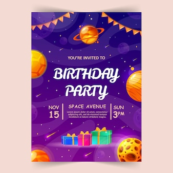Kids birthday party invitation card with cute little planets and ufo. space, universe and sky background.