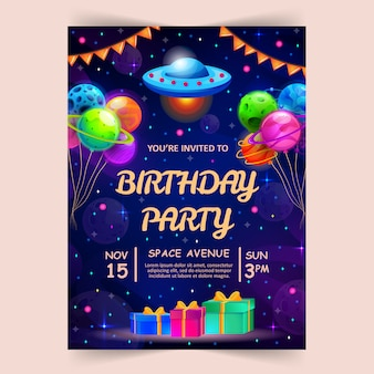 Kids birthday party invitation card with cute little planets and ufo.
