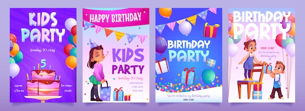 Kids birthday party invitation cartoon banners