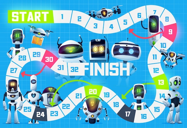 Kids board game, robots, droids and drone bots