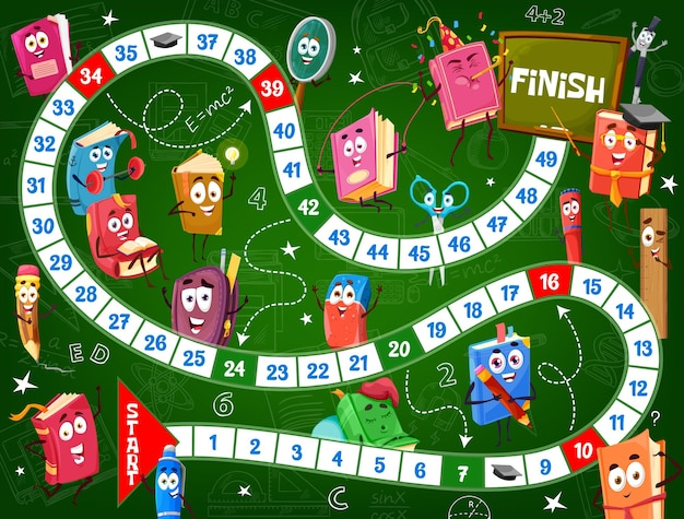 Kids board game, school textbooks and schoolbags