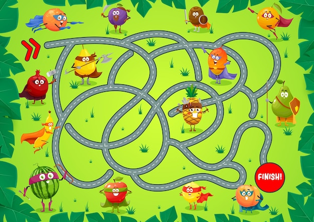 Kids board game template, find right way boardgame with tangled path, start, finish and cartoon fruits