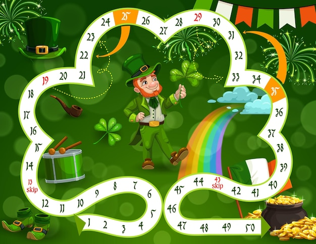 Kids board game template st patricks day theme