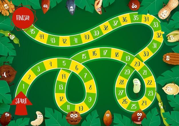 어린이 보드 게임 템플릿, 블록 경로, 숫자, 시작, 완료 및 만화 견과류와 씨앗 캐릭터가있는 단계 보드 게임.